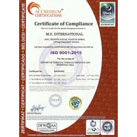 Ms International Certificate ISO 9001-2015