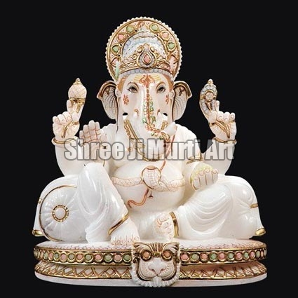 White Marble Ganesh Statue White Marble Ganesha Statue