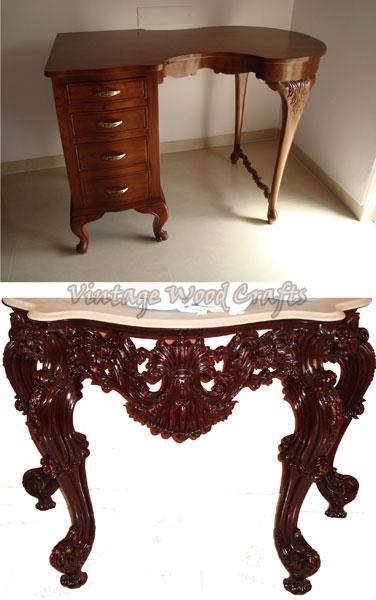 Wooden Study Tables on Vintage Walnut Furniture
