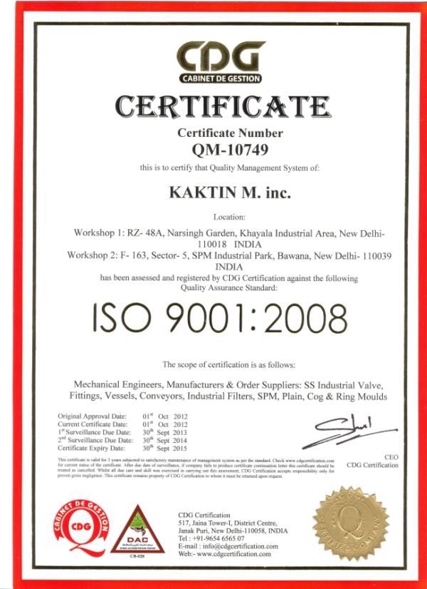 Kaktin M Inc Iso Certificate