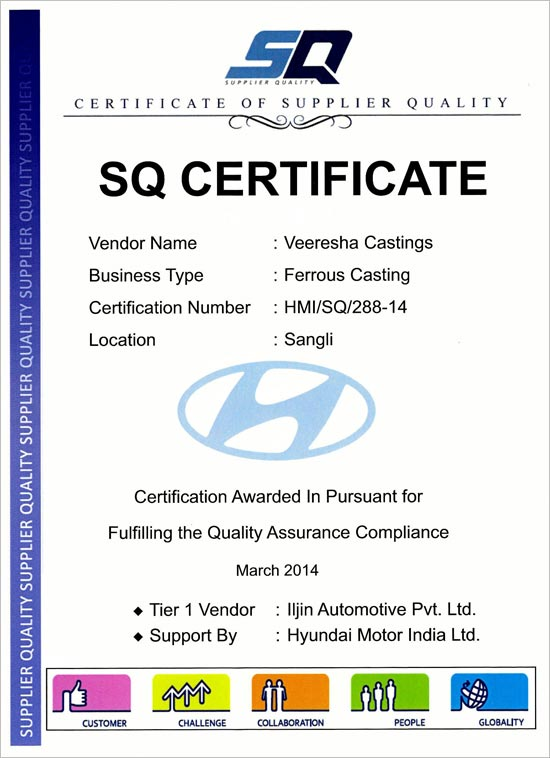 Certificate of Supplier Quality