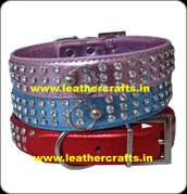 Leather Rhinestone Dog Collars