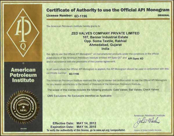 Certificate of Authority to use the official API Monogarm Licence No. 6D-1196