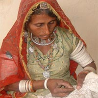 Rural Woman Doing Silk Embroidery