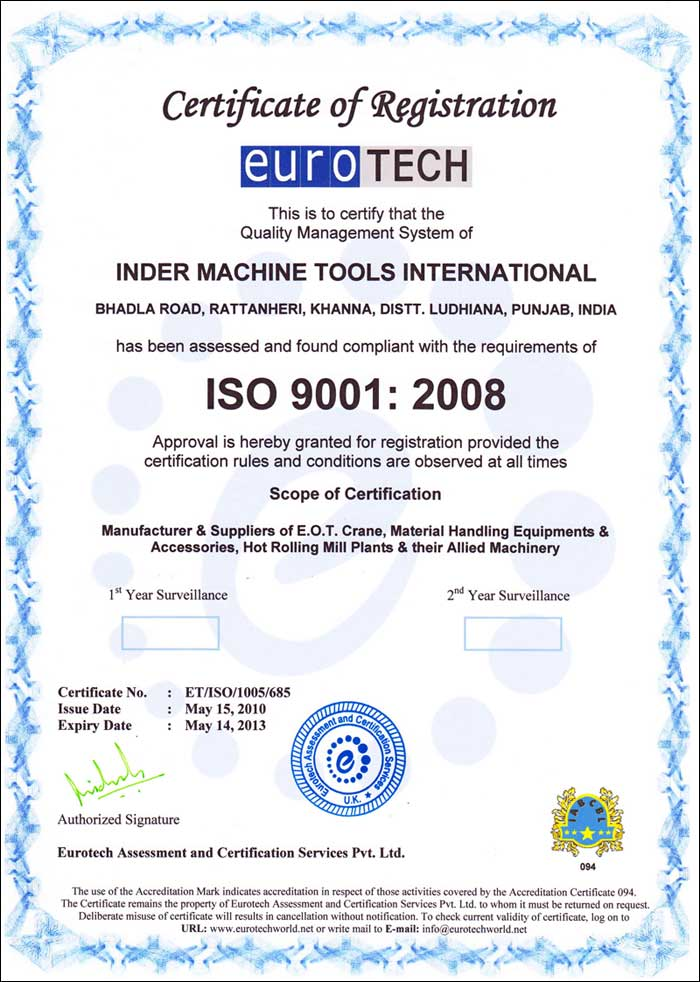 Adhering to national and international quality standards, we have achieved the ISO 9001:2008 Certificate