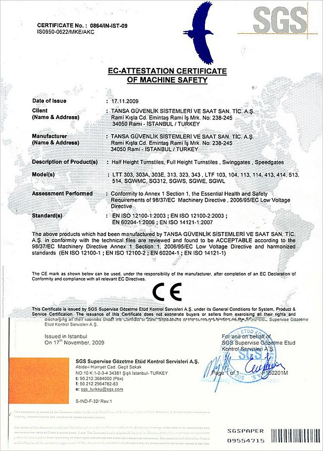 EC Attestation Certificate of Machinery Safety