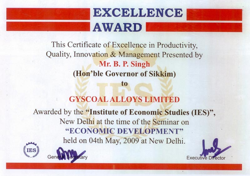 award of excellence certificate