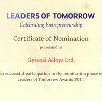 Leaders of Tomorrow Certificate