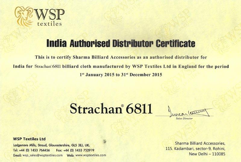 Certificates sharma billiards indian authorised distributor certificate altavistaventures Choice Image