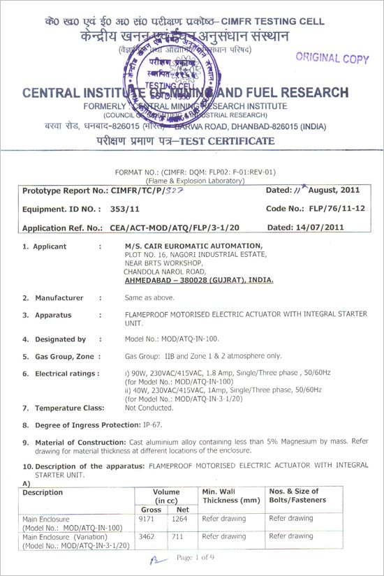Cair Euromatic Automation Pvt Ltd Certification Iso