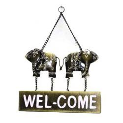 Iron Wooden Elephant Welcome Wall Decor Home