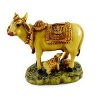 Handmade Hand Painted Cow and Calf Resin Figurine Sculpture
