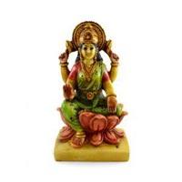 Handmade Hand Painted Goddess Lakshmi Resin Figurine Sculpture