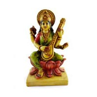 Handmade Hand Painted Godess Sarasvati Resin Figurine Sculpture