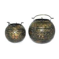 Set of 2 Handmade Candle Light Lamp Home Decor Iron Handicraft