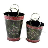 Set of 2 Iron Plated Bucket For Home Decor