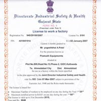 Certificate of Licence to Work a Factory