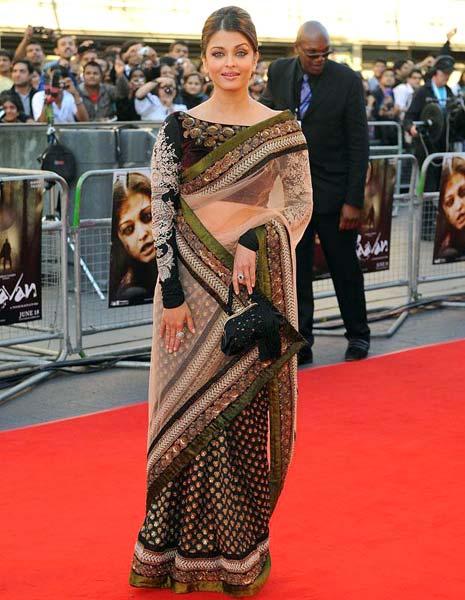 Aishwarya in White & Black Saree