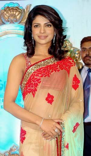 Priyanka in Red & Beige Saree