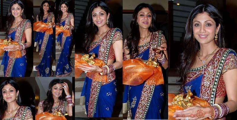 Shilpa in Blue Saree