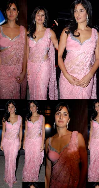 Katrina in Light Pink Saree