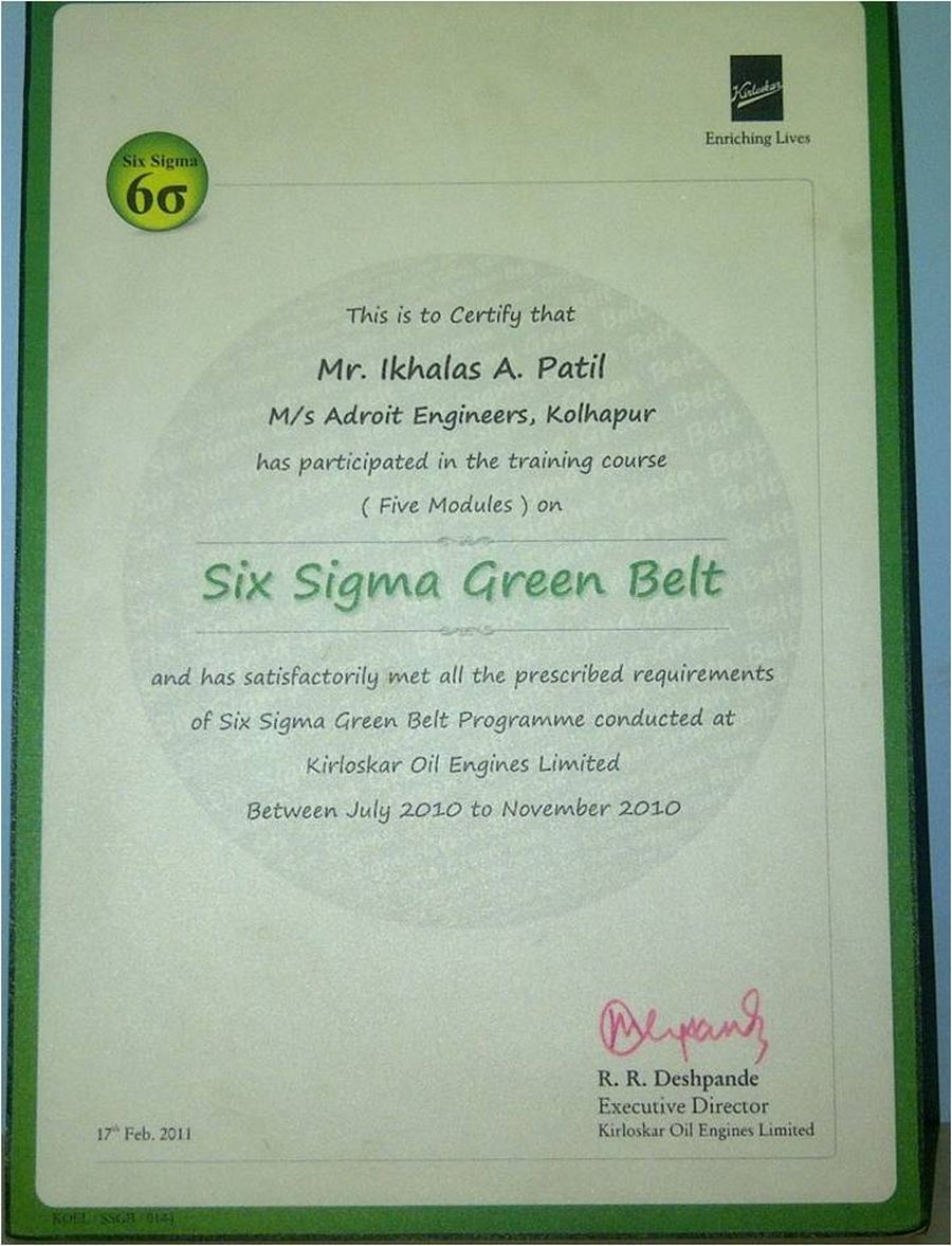 Adroit engineers certified by iso 90012000 six sigma certificate xflitez Choice Image