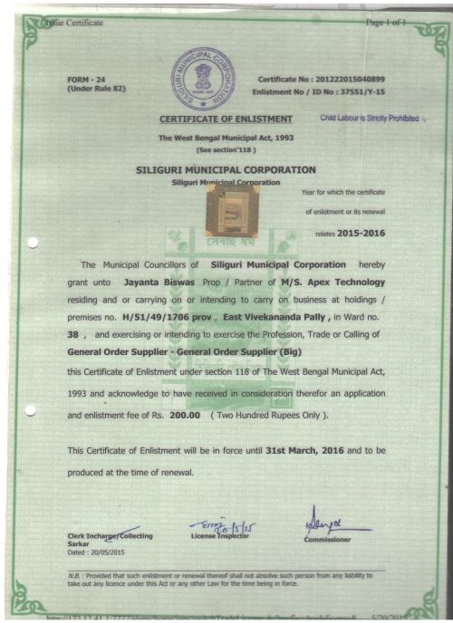 Certificate of Enlistment