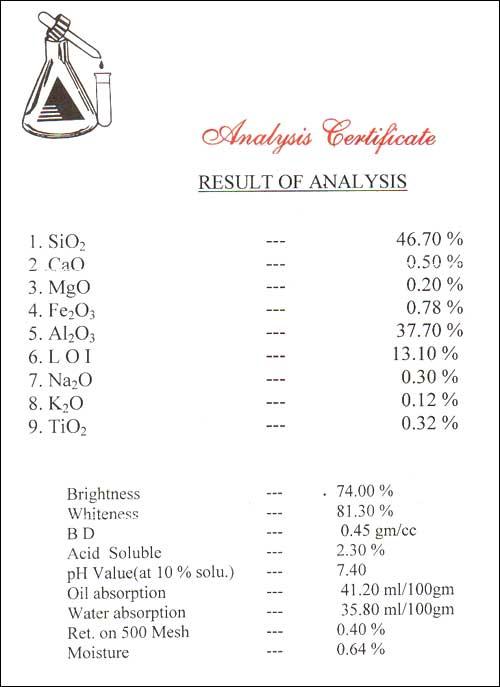 Ks Industries Analysis Certificate
