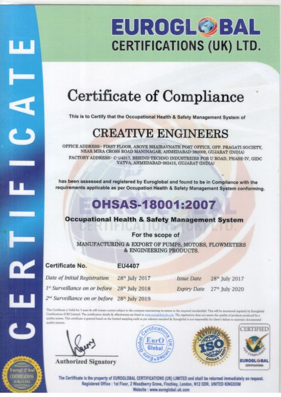 ISO 180001 Certificate