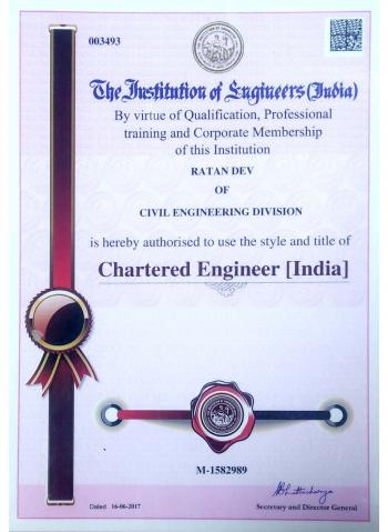Chartered Engineer Certificate