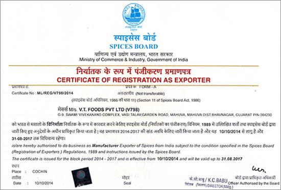 Spices Board Certificate