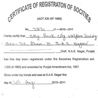 Certificate of Registration of Socities