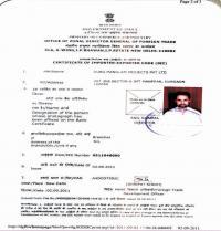 Certificate of Importer-Exporter Code