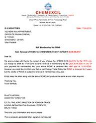 Chemexil Certificate