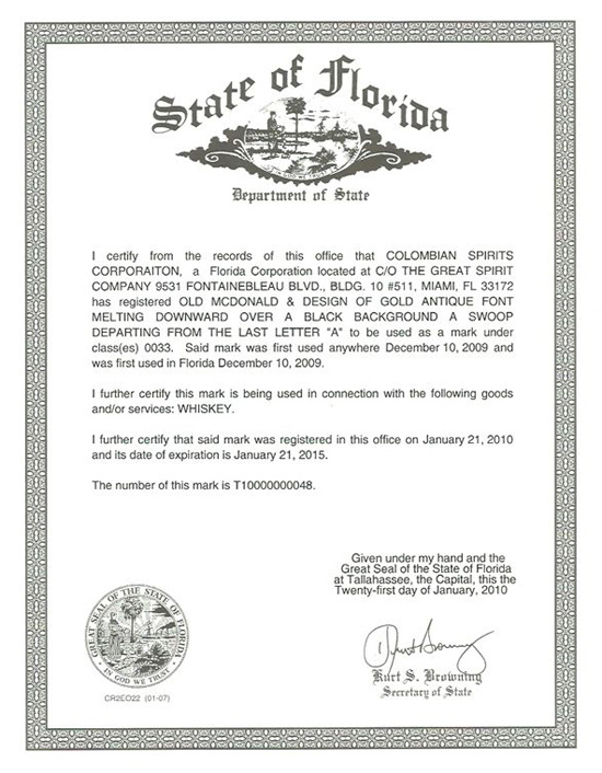 State of Florida Certificate