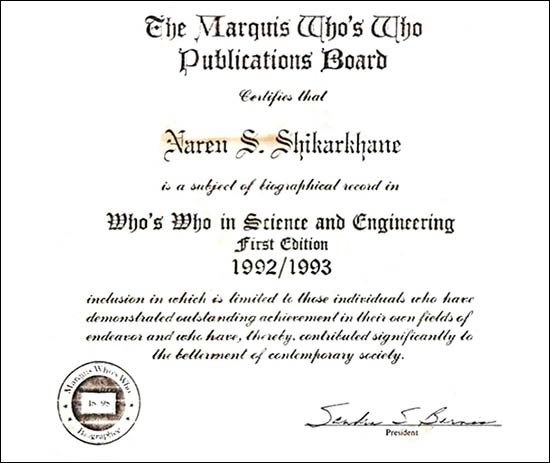 Who's Who Certificate