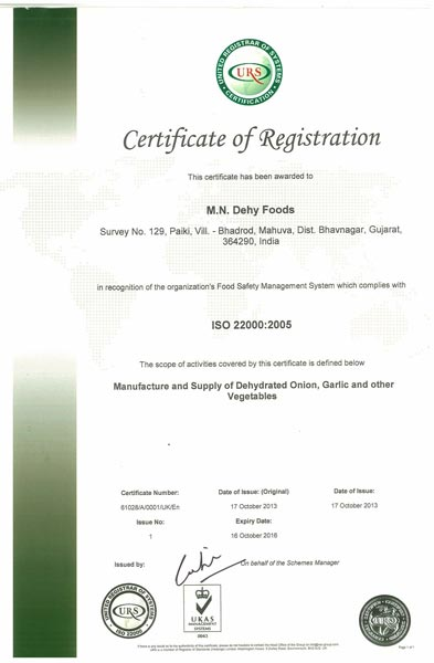 Certificate of ISO-22000-2005