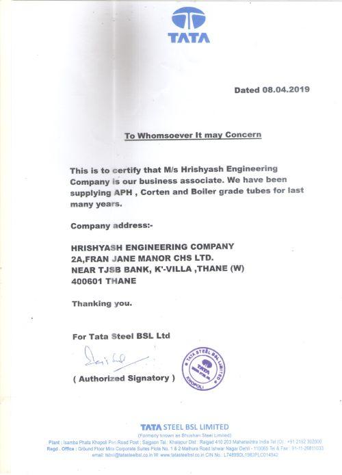 Tata Steel Certificate