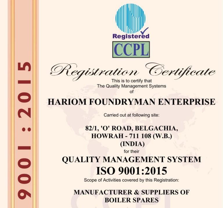 I.S.O. Certificate