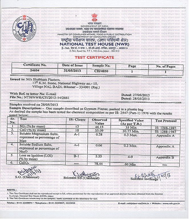 NTH Chemical Test Report