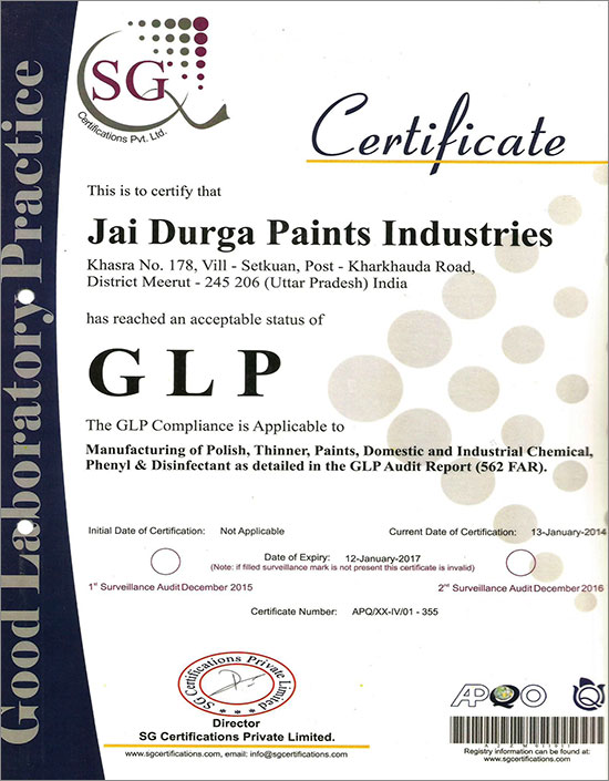GLP Certificate