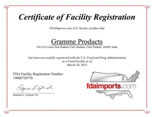 Certificate of Facility Registration