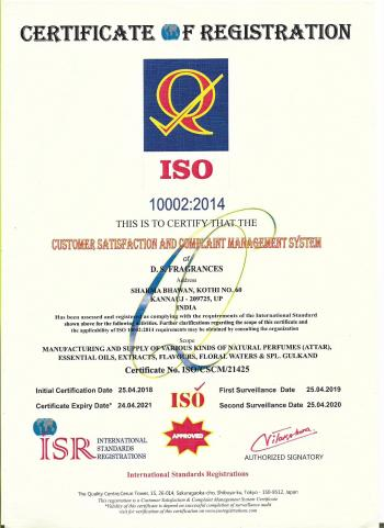 ISO Certificate (10002 - 2014)