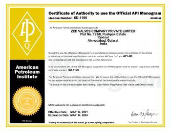 API-6D Certificate