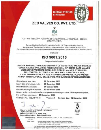 ISO 9001 -2015 Certificate