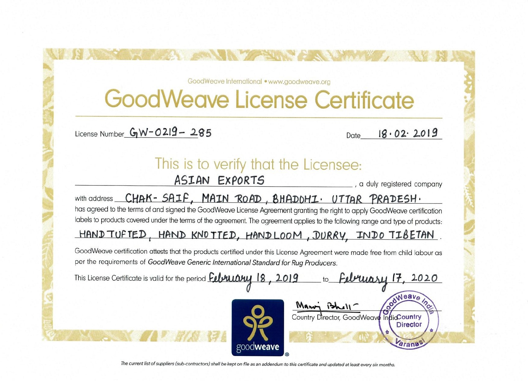 Goodweave License Certificate