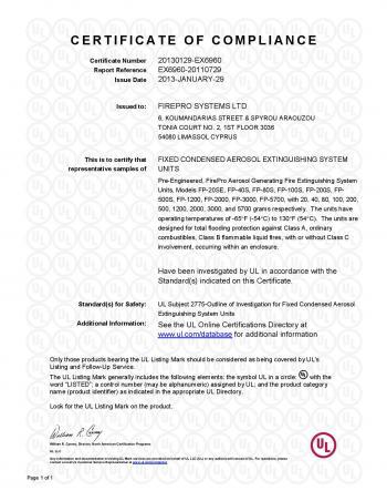 UL listing Certificate 01