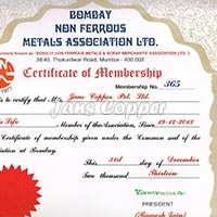 Bombay Non Ferrous Metal Exchange – Member Since - 2013