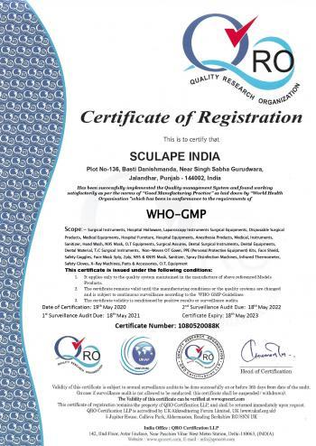 SCULAPE INDIA QRO WHO-GMP
