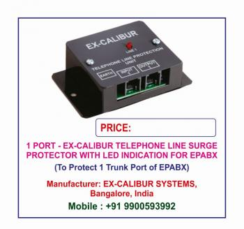 Ex-Calibur Telephone Line Surge Protector with LED Indications Lightning